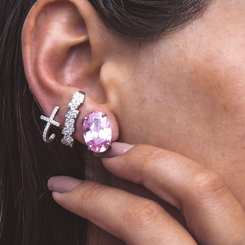 Brinco em prata 925 ear hook detalhes cravejado ródio branco