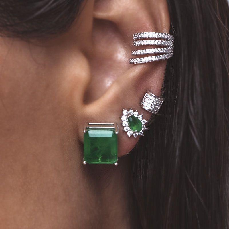 Brinco em prata 925 modelo joia gota cravejada cor esmeralda