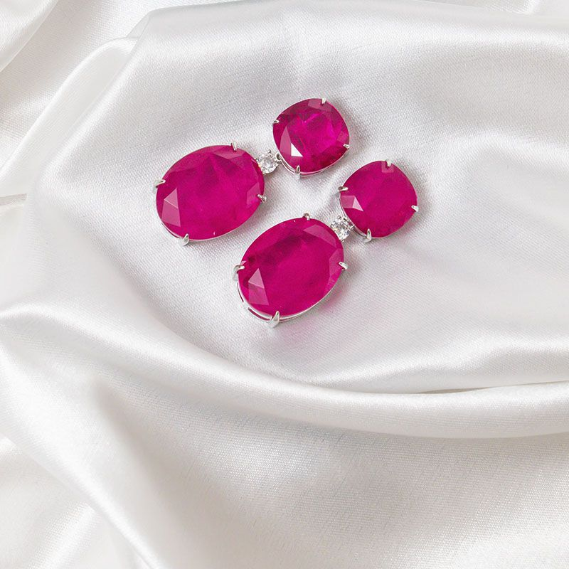 Brinco festa rosa pink fusion original ródio branco