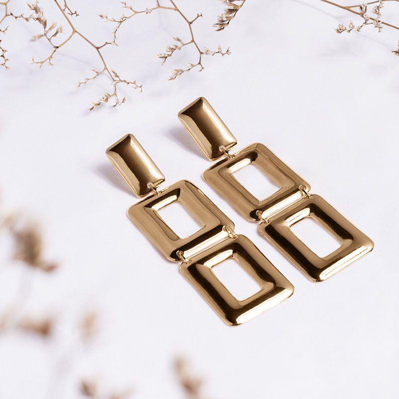 Brinco geométrico retângulos banho de ouro