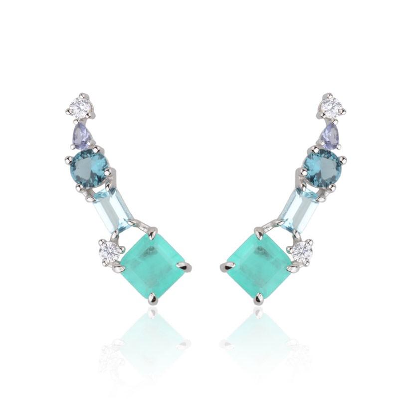 Brinco joia ear cuff em prata 925 com pedras em tons de azul