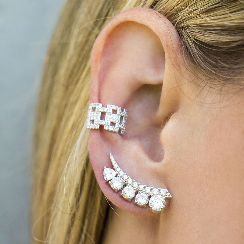 Brinco joia ear cuff noiva em prata 925