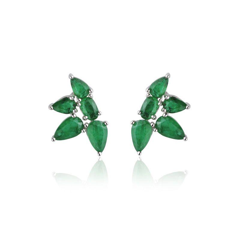 Brinco joia em prata 925 ear cuff flower cor esmeralda
