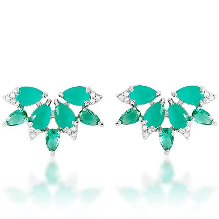 Brinco leque zircônias na cor esmeralda e cristal