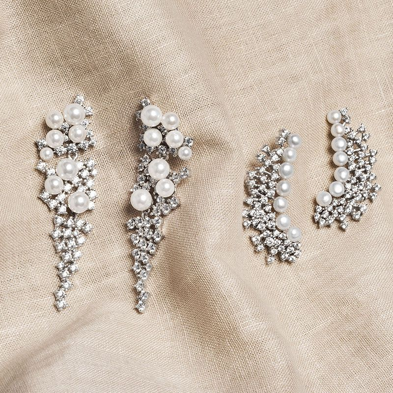 Brinco luxo joia em prata 925 zircônias com pérolas