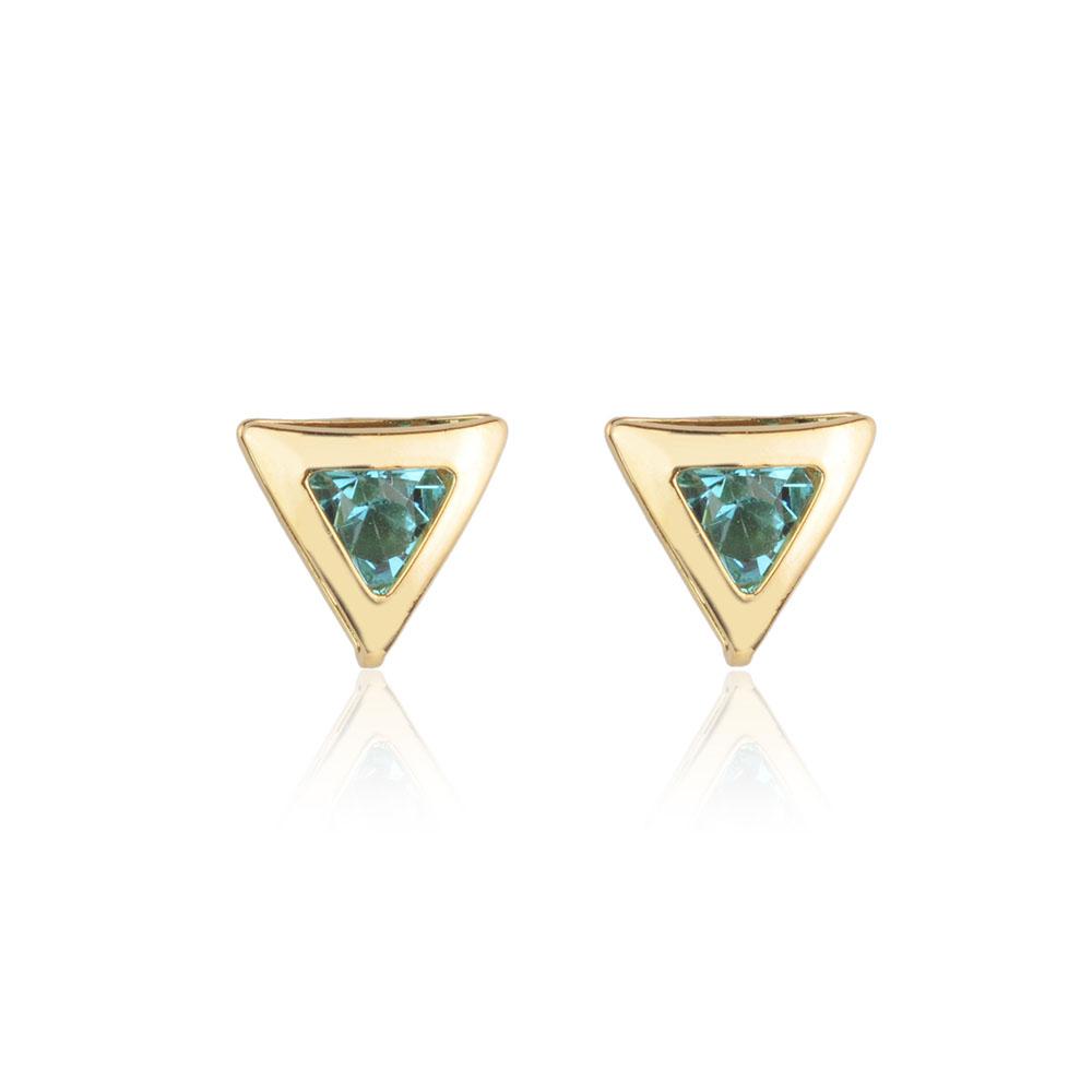 Brinco Milliá Cristal Triângulo Azul Folheado a Ouro