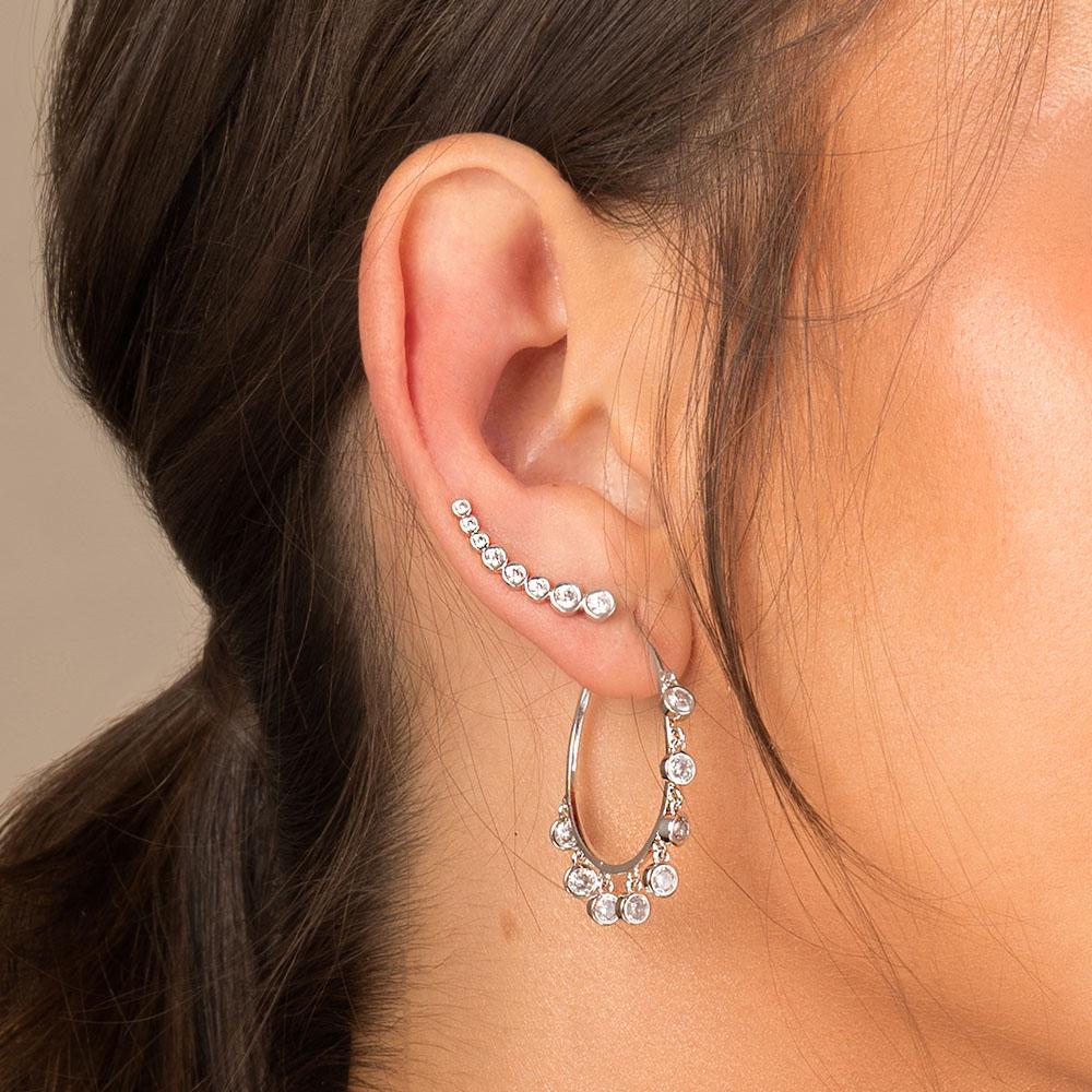 Brinco modelo ear cuff pontos de luz ródio branco