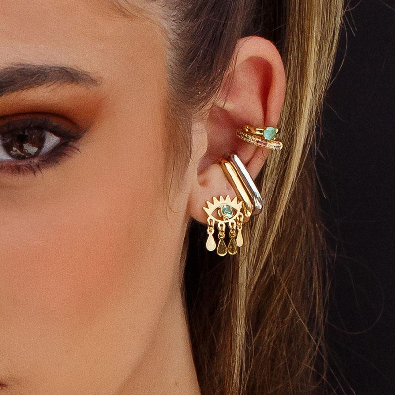 Brinco olho grego zircônia turmalina banho de ouro
