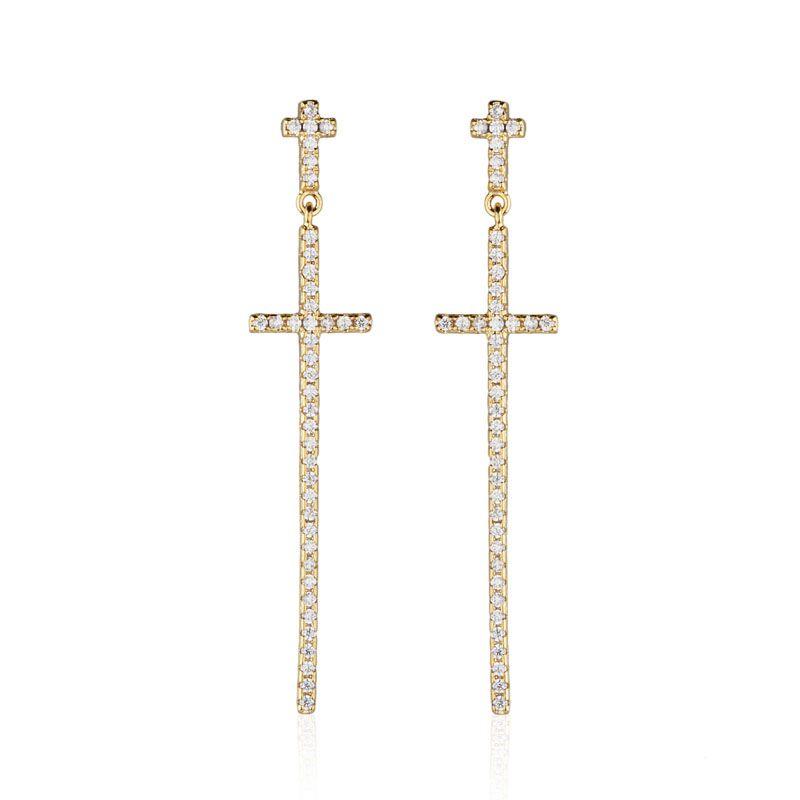 Brinco pêndulo cruz cravejada banho de ouro
