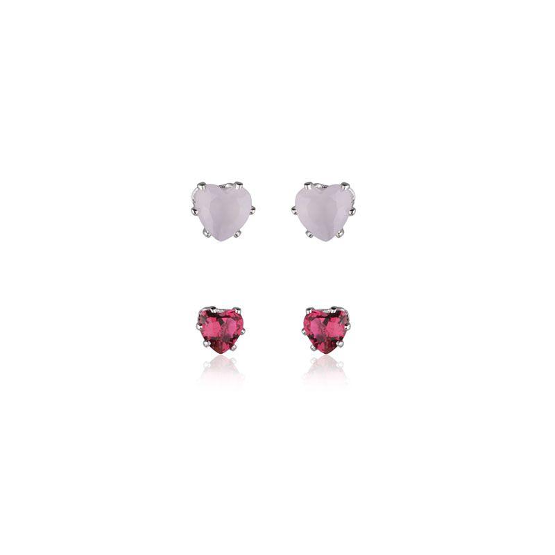 Brinco primeiro e segundo furo coração rosa leitoso e vermelho
