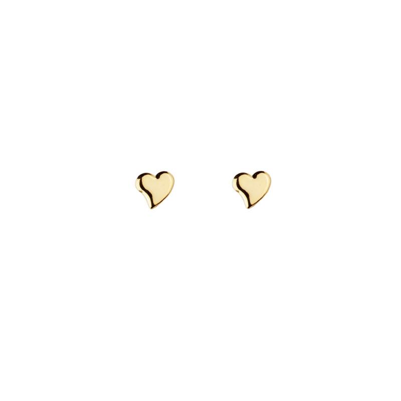 Brinco segundo furo coração banho de ouro