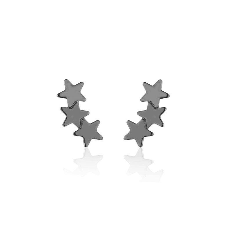 Brinco segundo furo ear cuff trio stars ródio negro