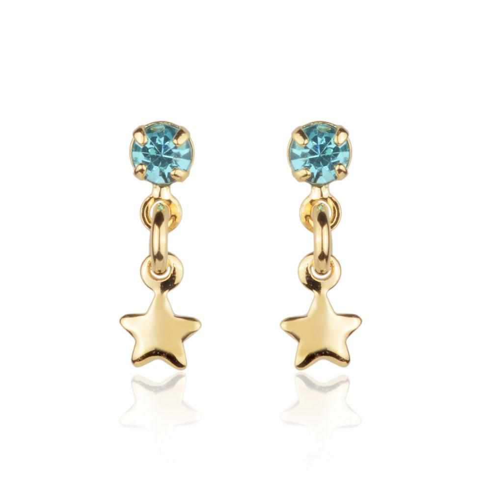 Brinco segundo furo pedra azul com pingente estrela banho de ouro