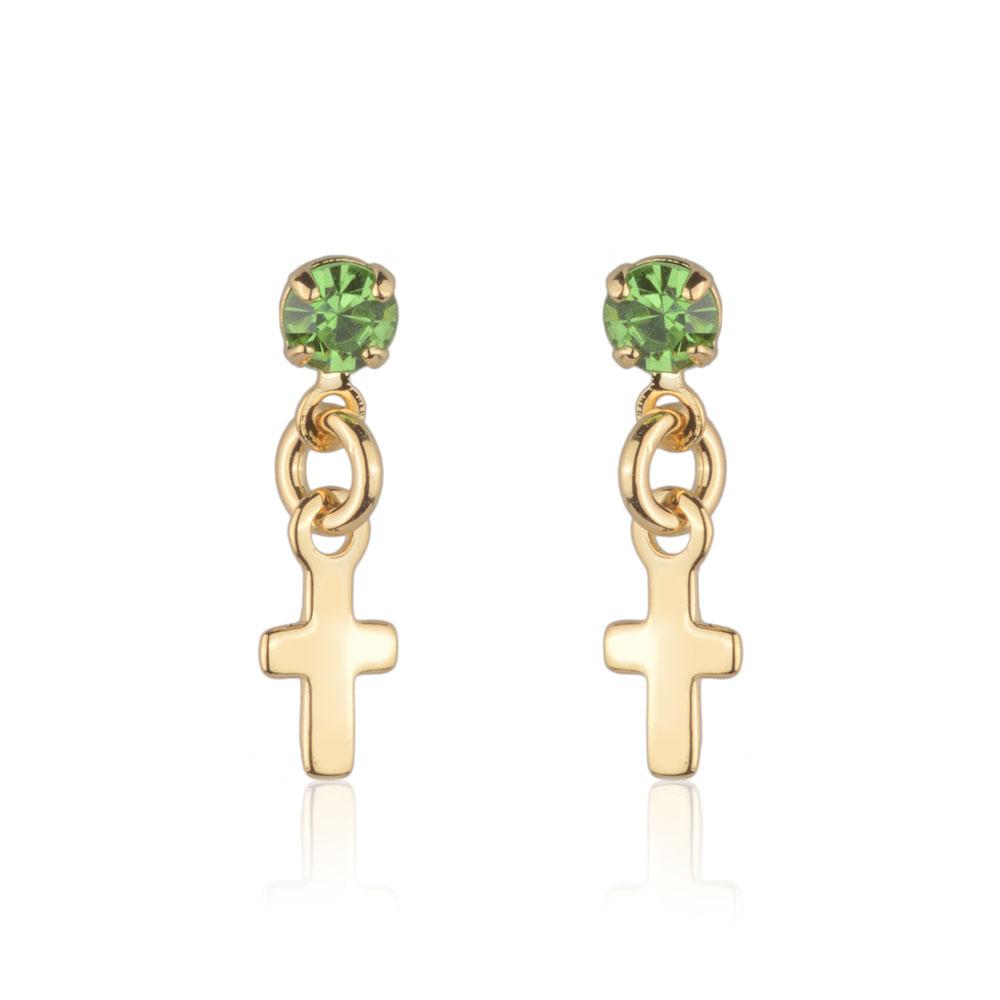 Brinco segundo furo pedra verde com pingente cruz banho de ouro