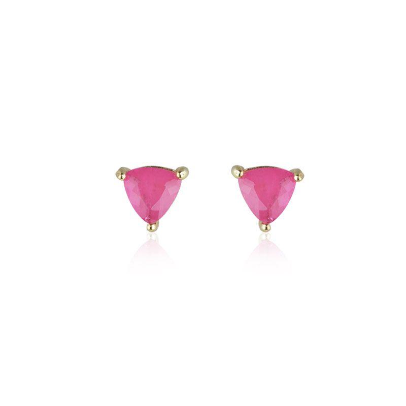 Brinco segundo furo triângulo rosa pink fusion original banho de ouro