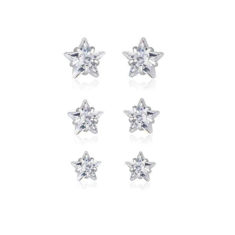 Brinco trio stars ródio branco