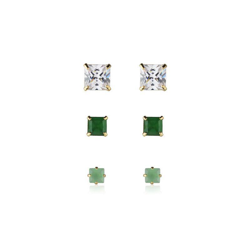 Brincos 3 furos quadradinhos cristal esmeralda e turmalina banho de ouro