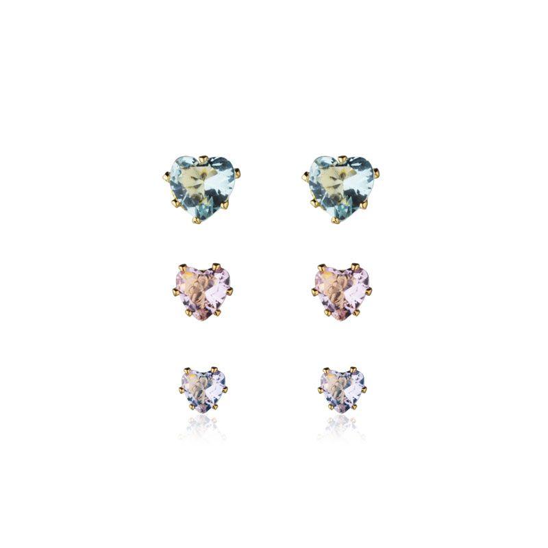 Brincos corações para os 3 furos azul, rosa e roxo banho de ouro