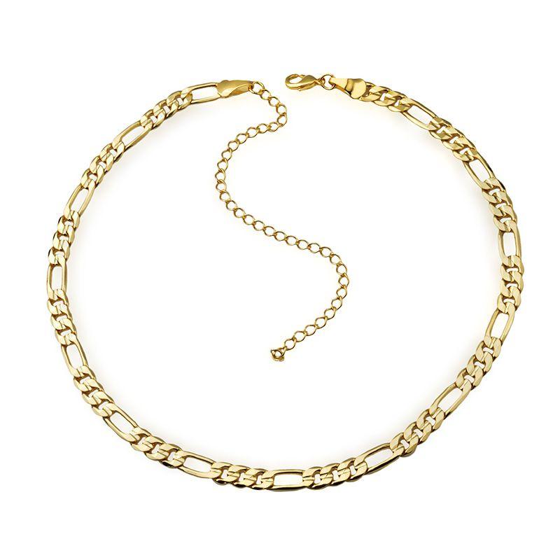 Choker corrente modelo fígaro banho de ouro