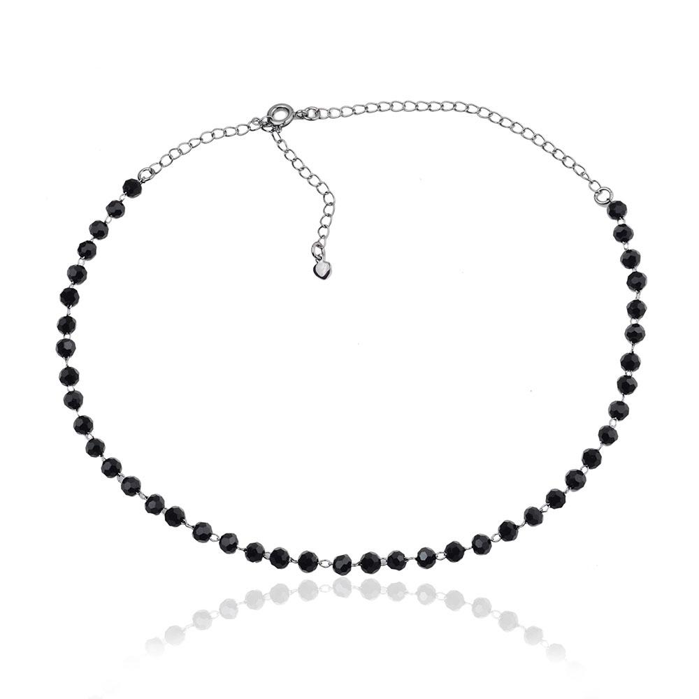 Choker cristais negros banho ródio negro