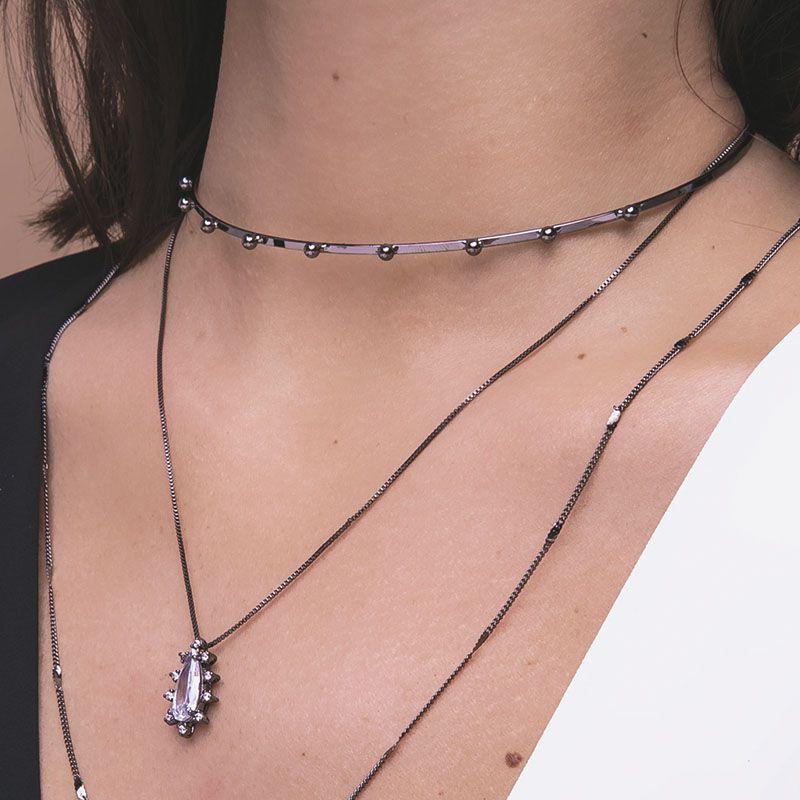 Choker metal bolinhas ródio negro semi joia