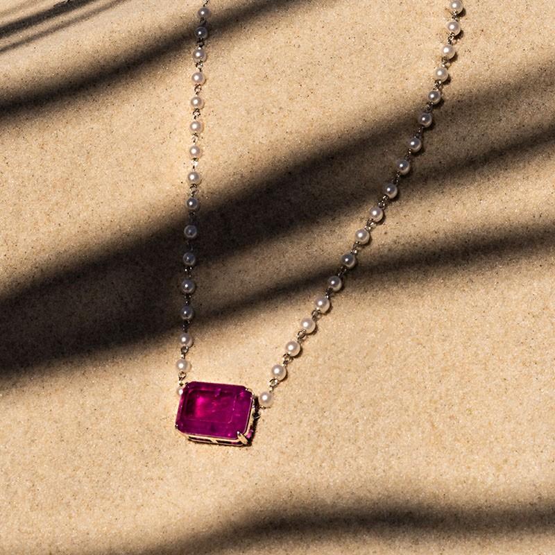 Choker pérolas com pedra violeta fusion original ródio branco