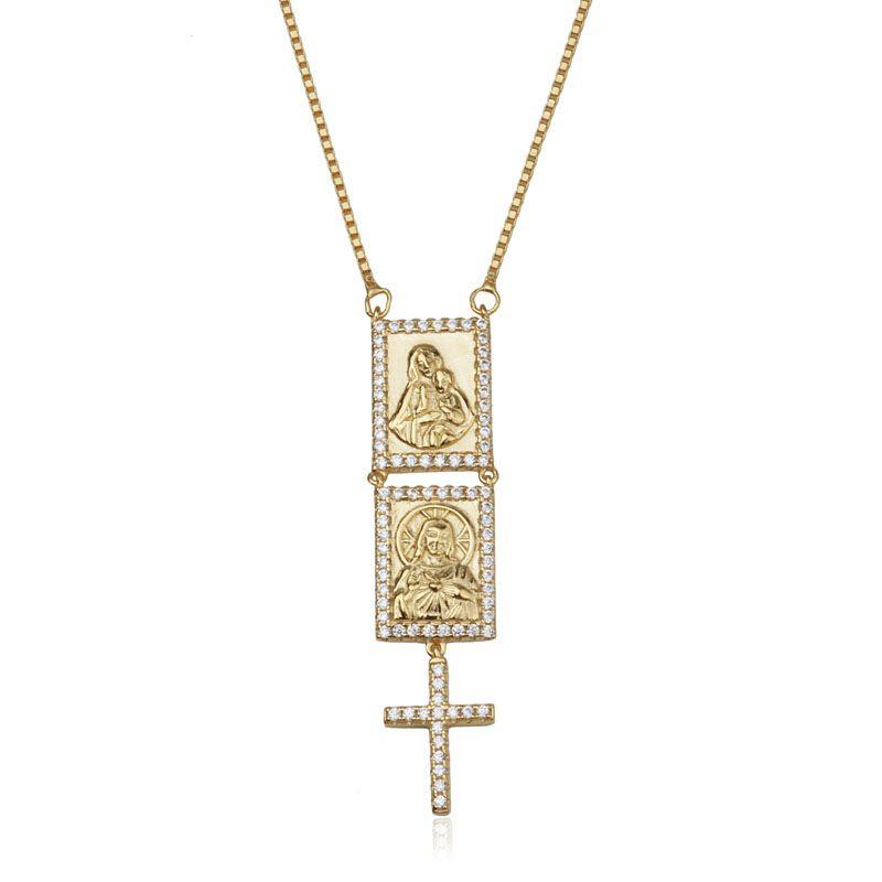 Colar em prata 925 escapulário Sagrado Coração de Jesus banho de ouro