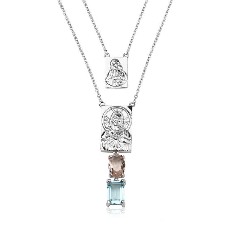 Colar em prata 925 escapulário Sagrado Coração de Jesus pedras cor água marinha e morganita