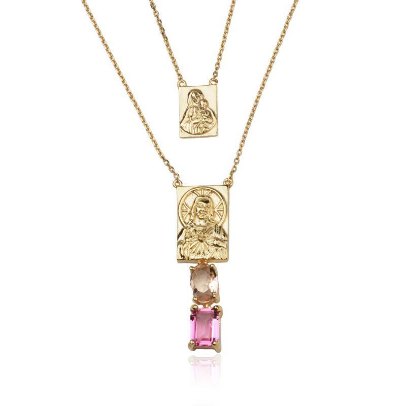 Colar em prata 925 escapulário Sagrado Coração de Jesus pedras cor morganita e rubi ouro