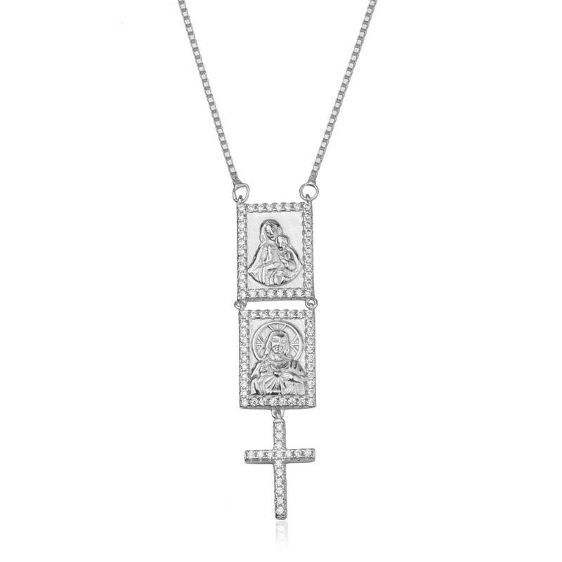 Colar em prata 925 escapulário Sagrado Coração de Jesus ródio branco