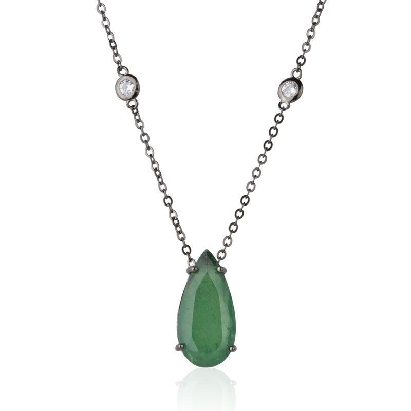 Colar em prata 925 joia pingente gota esmeralda fusion original