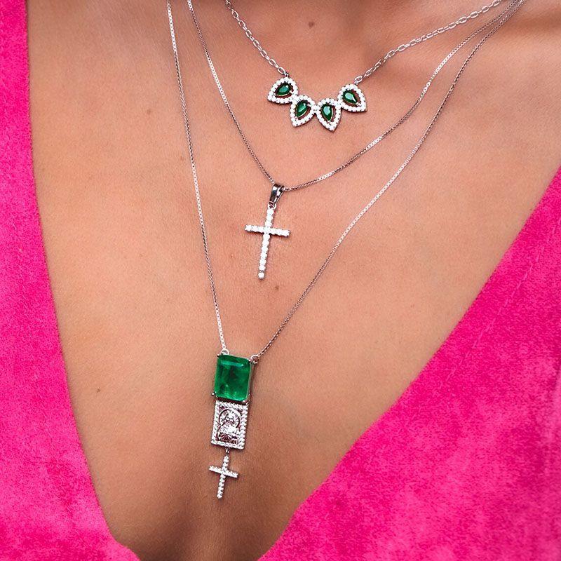 Colar escapulário em prata 925 esmeralda fusion original Sagrado Coração de Jesus