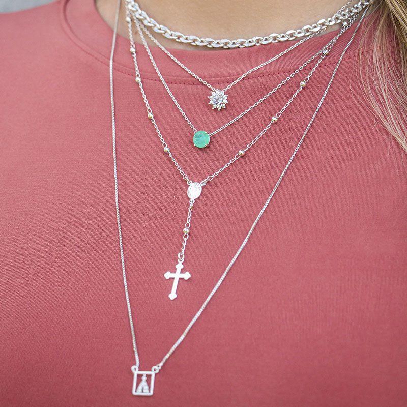 Colar Milliá Escapulário Sagrado Coração de Jesus e N° Senhora Aparecida Ródio Branco