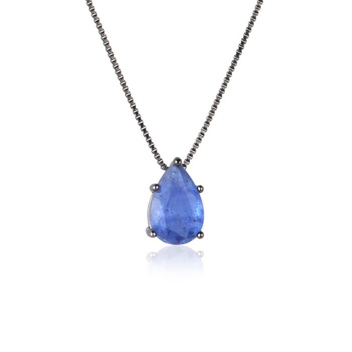 Colar gota azul fusion original cor safira ródio negro