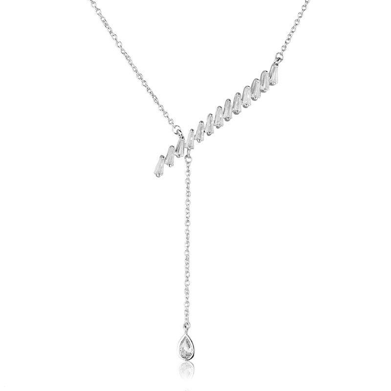 Colar gravatinha detalhes zircônias cristais cravejado ródio branco