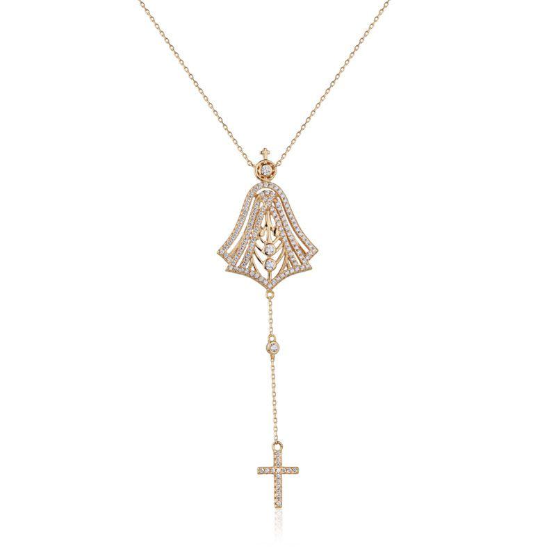 Colar gravatinha joia em prata 925 Nossa Senhora banho de ouro
