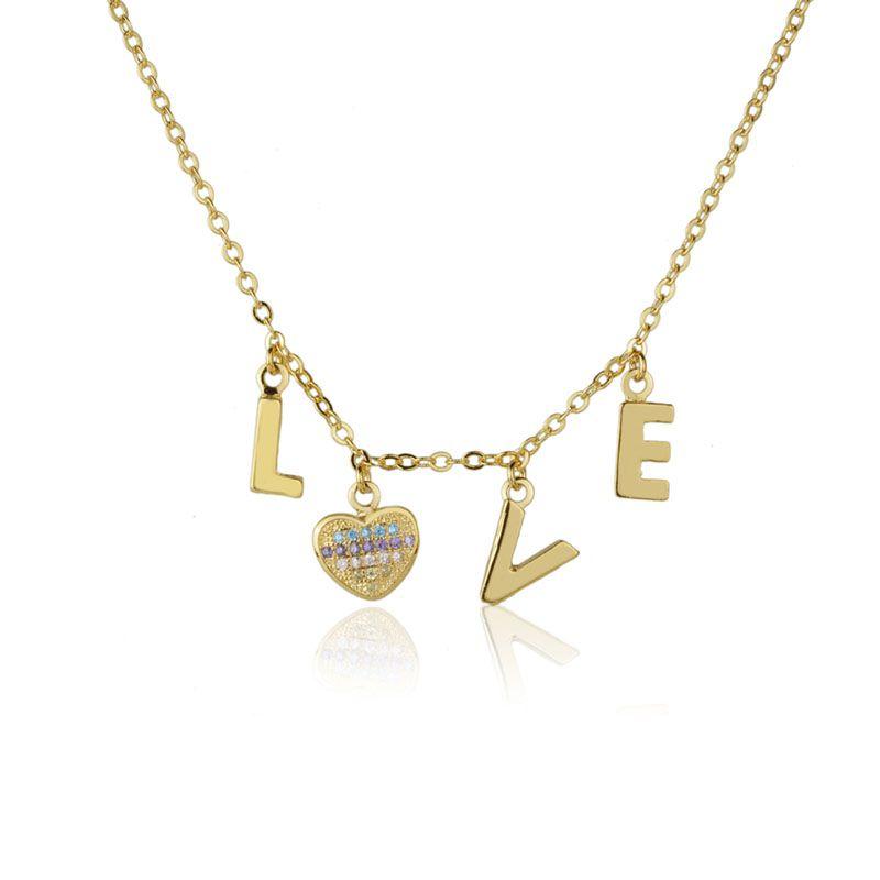 Colar Love Coração Colors Banho de Ouro