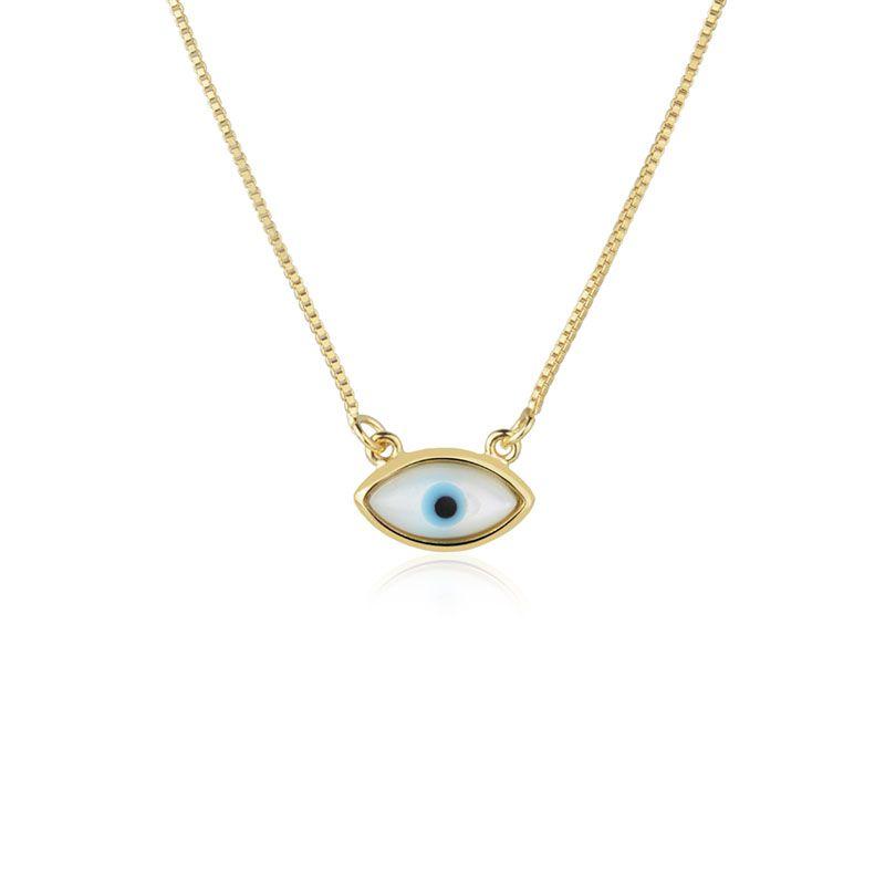 Colar olho grego delicado banho de ouro