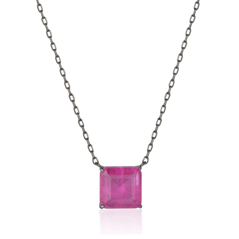Colar pingente quadrado rosa pink fusion original ródio negro