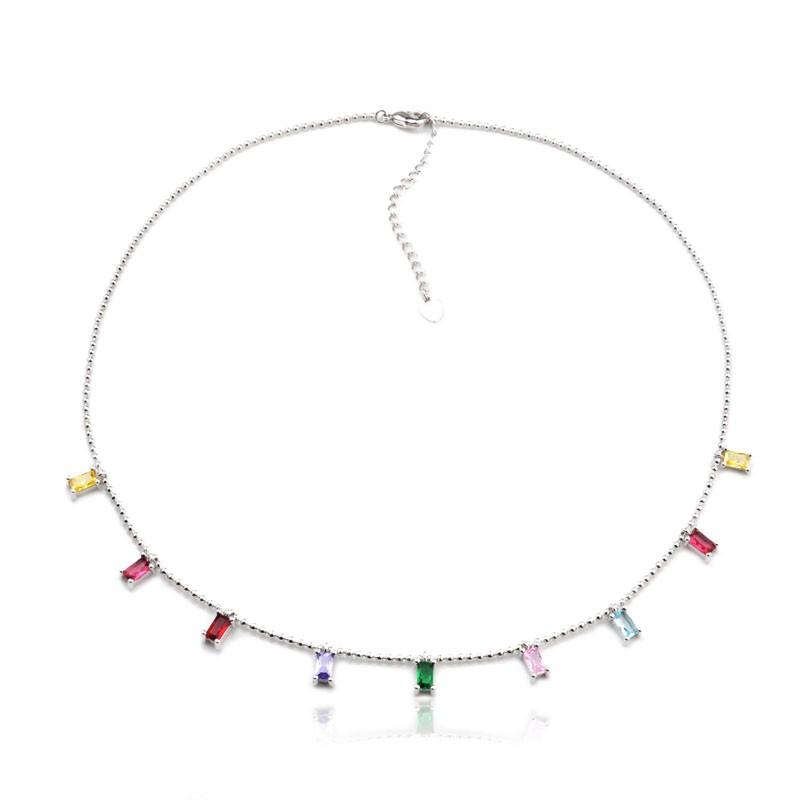 Colar pingentes retangulares rainbow ródio branco