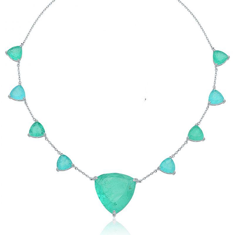 Colar triângulos esmeralda colombiana e água marina fusion ródio branco