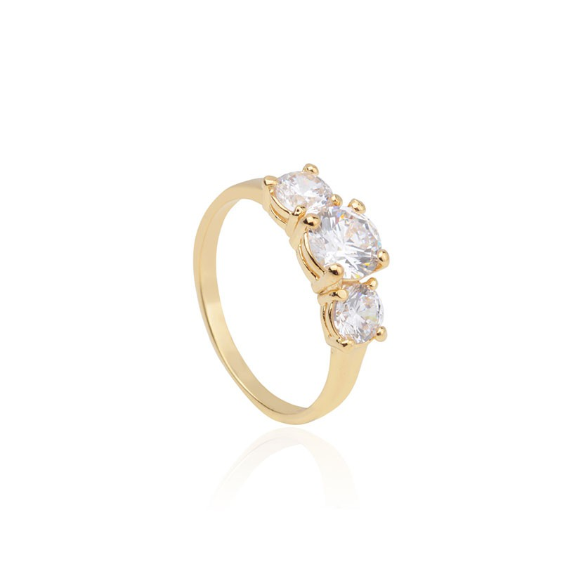Compre o Mix de anéis banho de ouro e ródio branco com 5% de desconto