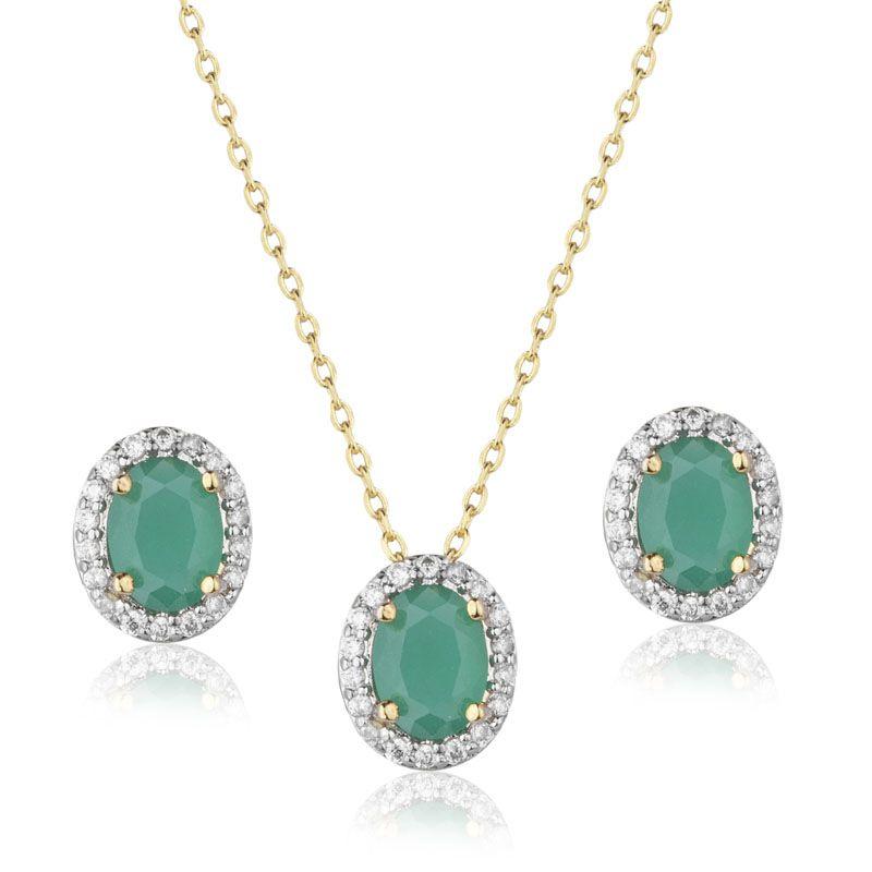 Conjunto brinco e colar oval cor esmeralda cravejado banho de ouro