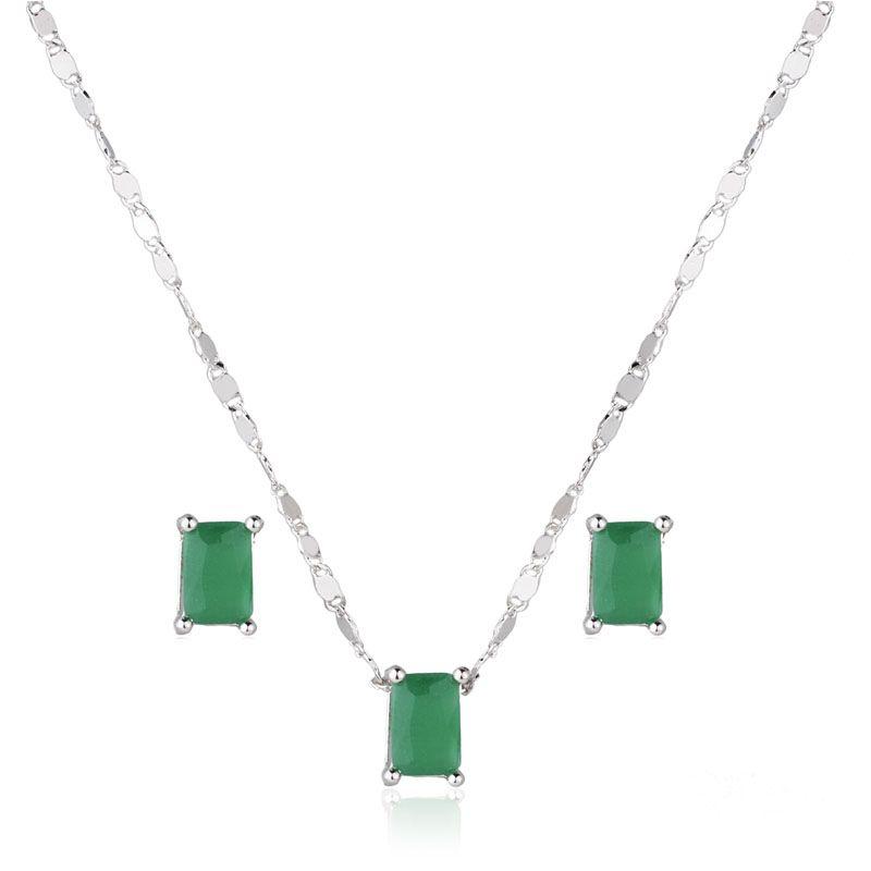 Conjunto brinco e colar retângulo cor esmeralda ródio branco