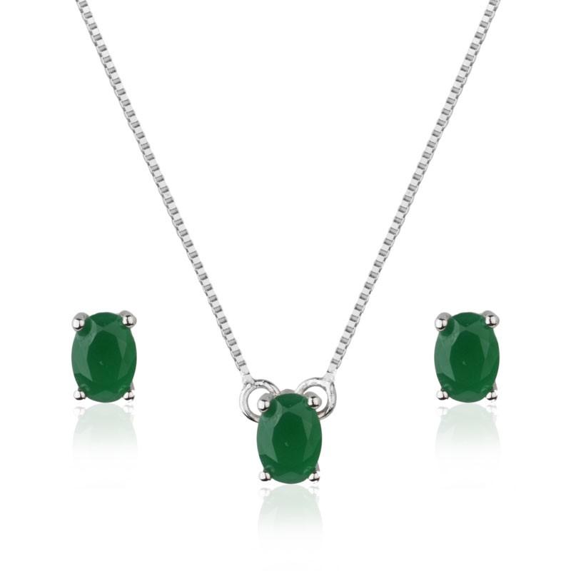 Conjunto oval pedra verde com banho de ródio branco