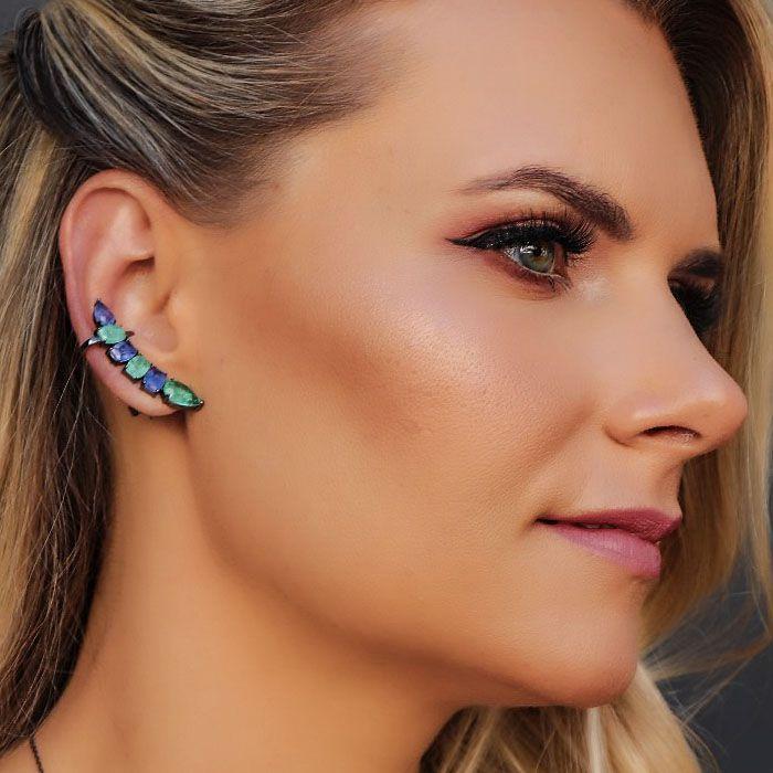 Brinco Ear Cuff Colors Cor Turmalina e Ametista Fusion Original