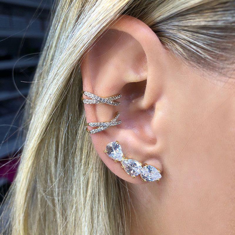 Ear cuff trio gotas cristais banho de ouro