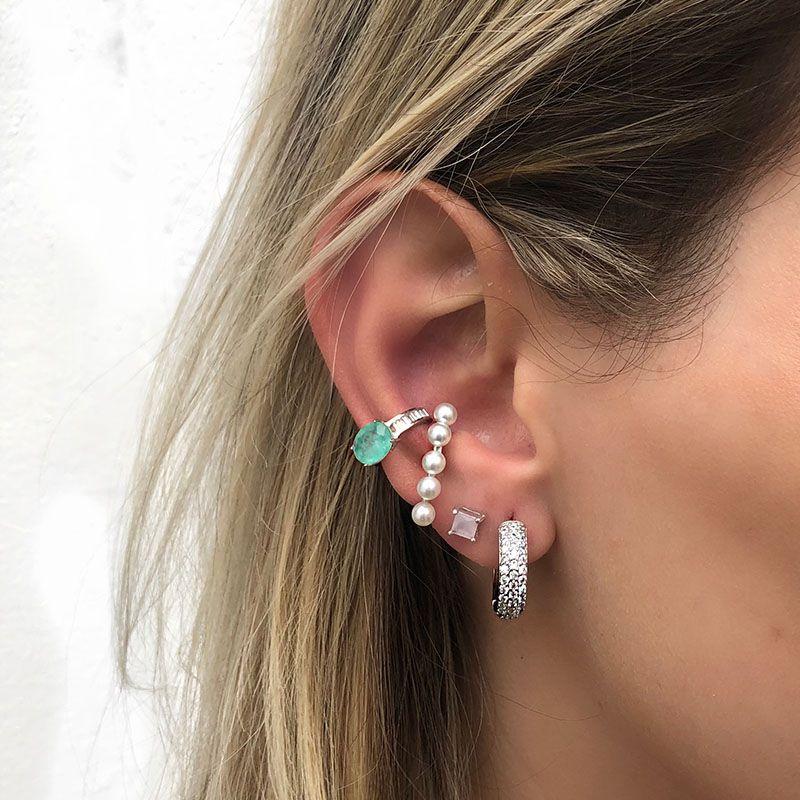 Brinco ear hook falso pérolas ródio branco