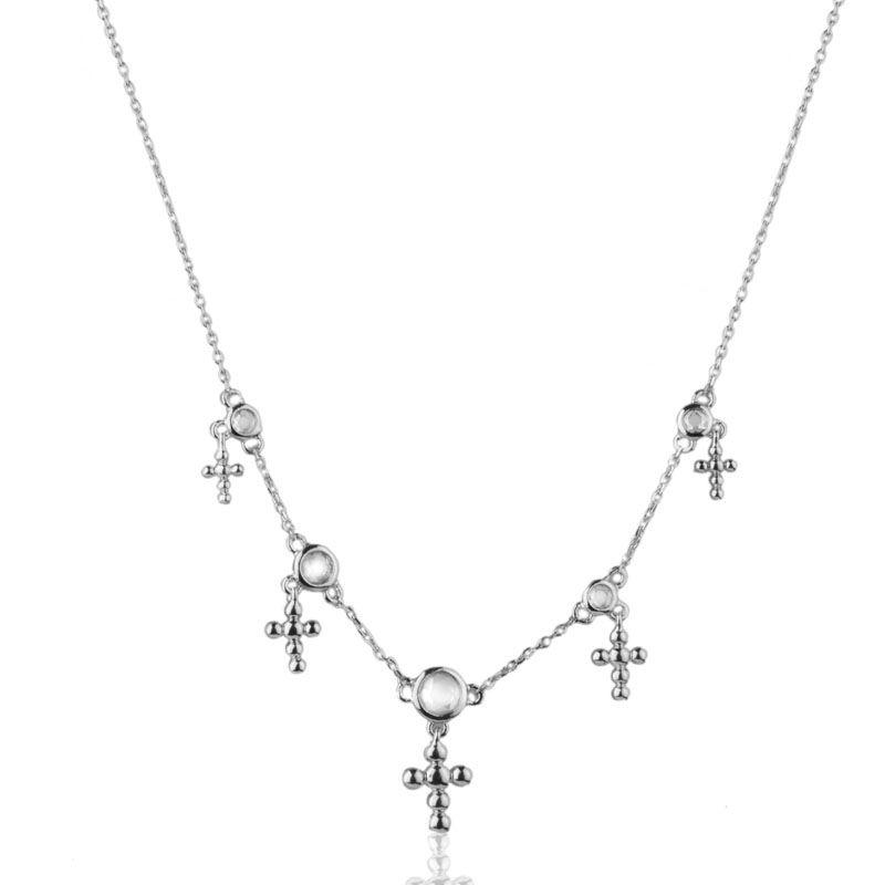 Gargantilha cruz pontos de luz ródio branco
