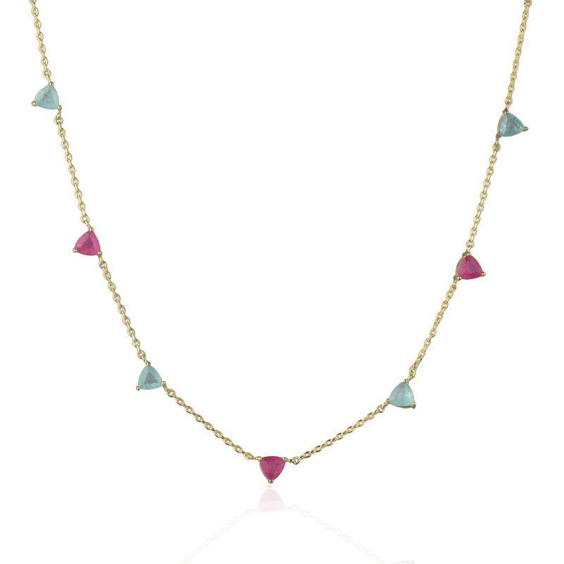 Gargantilha triângulos rosa pink e água marinha fusion original banho de ouro